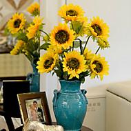 1 Ramo Poliéster Girassóis Flor de Mesa Flores artificiais 87 x 16 x 16 (34.25'' x 6.29'' x 6.29'')
