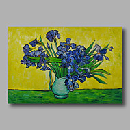 Hand-Painted Abstract Oil Painting Canvas Van Gogh repro Blue Irises in Vase Home Deco one Panel