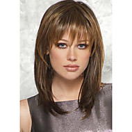 Adorable Medium Length Straight Human Virgin Remy 1 Inch Monofilament Top Capless Hair Wigs