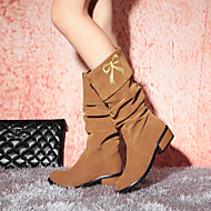 Women's Shoes Leatherette Chunky Heel Round Toe Boots Outdoor / Office & Career / Casual Black / Brown / Red / Beige