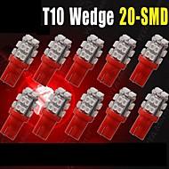 10 × T10의 W5W 2825 192 194 168 501158 빨간 20smd 주도 측 쐐기 전구 직류 12V