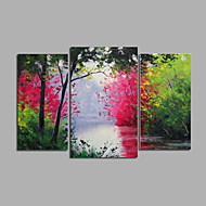 El-Boyalı Manzara / Çiçek/Botanik / Soyut ManzaraModern Üç Panelli Kanvas Hang-Boyalı Yağlıboya Resim For Ev dekorasyonu