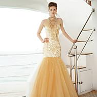 포멀 이브닝 드레스 트럼펫 / 머메이드 하이 넥 바닥 길이 튤 와 비즈 / 스팽글