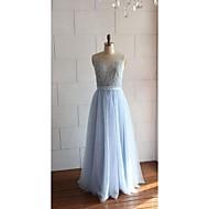 저녁 정장파티 드레스 - 아이보리 / 스카이 블루 A라인 바닥 길이 스쿱 레이스 / 명주그물