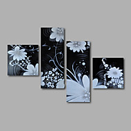 Ready to Hang Hand-Painted Oil Painting on Canvas Wall Art Contempory Abstract Flowers White Black Home Deco Four Panels