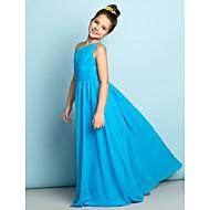 Junior-Brautjungferkleid - Blau Chiffon - A-Linie - bodenlang - 1-Schulter