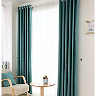 (Two Panels)Modern  Solid  Jacquard Linen/Cotton Polyester Blend Curtain(Sheer Not Included)