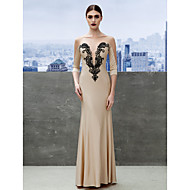 Formal Evening Dress Trumpet / Mermaid Bateau Floor-length Jersey with Appliques
