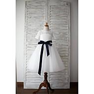 A-line Knee-length Flower Girl Dress - Lace / Tulle Short Sleeve