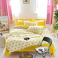 Mingjie® Golden Delicious Yellow Flat Sheet Queen and Twin Size Sanding Bedding Sets 4pcs for Boys and Girls China