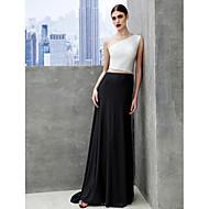 TS Couture 프롬 포멀 이브닝 블랙 타이 갈라 드레스 - 컬러 블럭 A-라인 보트넥 스윕 / 브러쉬 트레인 튤 져지 와 주름