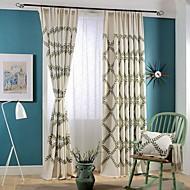 Dva panely Země / Moderní / Neoklasika Květiny Vícebarevný Ložnice Směs lnu a bavlny Panel Záclony závěsy