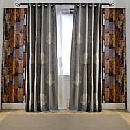 Deux Panneaux Rustique / Moderne / Néoclassique Floral / Botanique Multicolore Chambre à coucher Métissé Lin et PolyesterPanneau Rideaux