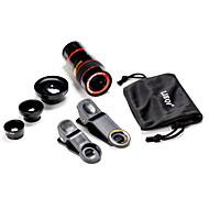 Universal 5 in 1 Fall Clip 0,65x Weitwinkel&180 ° Fischauge&8 mal Teleskopobjektiv für Handy einstellen&Digitalkameras