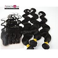 4 Stück Menge natürliche Farbe Körperwelle brasilianische reine Haarbündel mit Spitzenschliessen kein Verschütten keiner Verwicklung