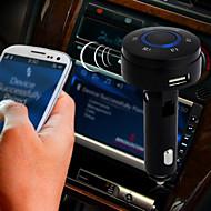 trådløs bluetooth 3,0 bilsæt FM-sender cigarettænder USB-oplader
