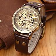 SHENHUA® Men's Vintage Skeleton Bronzen Leather Band Automatic Mechanical Wrist Watch Cool Watch Unique Watch