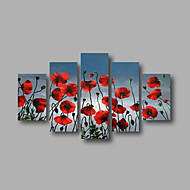 Ready to Hang Stretched Framed Hand-painted Oil Painting Canvas Wall Art Red Poppies Blue Sky Modern Five Panels