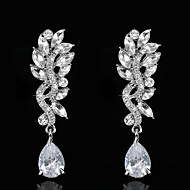 Vintage Women's  Earrings Zircon Diamond  Silver Earring For Wedding Bridal