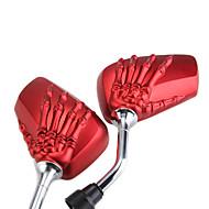 Bekijk paar motorfiets kant spiegels skelet de hand rood 10mm voor Suzuki