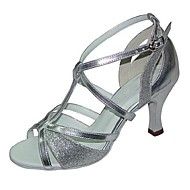 Na zakázku - Dámské - Taneční boty - Latina - Kůže - Rozšířený podpatek - Černá / Stříbrná / Ostatní