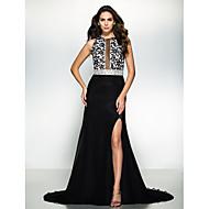 Formal Evening Dress - Black A-line Jewel Court Train Chiffon / Lace