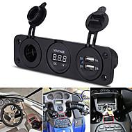 12v carro 2 usb carregador adaptador de isqueiro soquetes com voltímetro digital