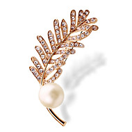The New High-End Jewelry Pearl Diamond Brooch Pin Leaves Leaves
