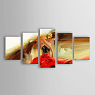 Oil Painting Modern Impression Woman Set of 5 Hand Painted Canvas with Stretched Framed