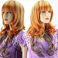 Fashionable Orange  Mix Wig Long Wavy Curly Hair Women Cosplay Full Wigs