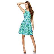 칵테일 파티 / 회사 파티 / 가족 모임 드레스 A-라인 쥬얼리 무릎 길이 쉬폰 와 패턴 / 프린트