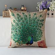"""43cm*43cm 17""""*17"""" Peacock Cotton / Linen Cotton&linen Pillow Cover / Throw Pillow With No Insert"""