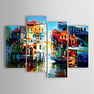 Oil Painting Modern Impression Buildings Set of 4 Hand Painted Canvas with Stretched Framed