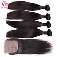 """smilco 8 """"-30"""" 4 niput slik closures hiuksista Brasilian neitsyt hiukset slik edestä sulkeminen nippua"""