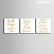 Words & Quotes Canvas Tulosta 3 paneeli Valmis Hang , Neliö