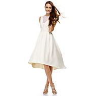 Cocktail Party Dress A-line Bateau Knee-length Chiffon with Lace