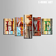 E-HOME® Stretched Canvas Art HOME Letters Decoration Painting  Set of 5
