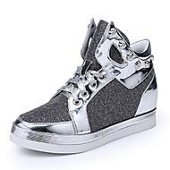 נעלי נשים - סניקרס אופנתיים - נצנצים - נוחות / מעוגל - שחור / כסוף / זהב - שטח / קז'ואל - עקב וודג'