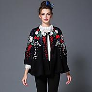 aofuli winter geborduurde wollen vrouwen europa high fashion vintage patchwork plus size losse dikker jas