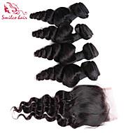"""smilco 8 """"-10"""" 4 nippua sulkemisuhan hiuksista brasilialainen löysä aalto sulkemisuhan hiukset hiuksista kutoa"""