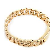 Toonykelly Fashion 22CM Width 1.2CM Men's Stainless Steel Gold Link Chian Bracelet(1PC)