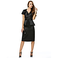 TS Couture® Cocktail Party Dress - Black Sheath/Column V-neck Knee-length Charmeuse