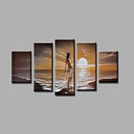 手描きの 風景 / 抽象的な風景画Modern 5枚 キャンバス ハング塗装油絵 For ホームデコレーション
