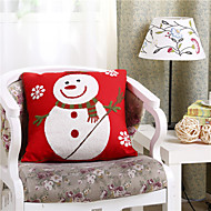 Embroidered Snowman Christmas Pillow With Insert