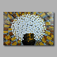 Ready to Hang Stretched Hand-Painted Oil Painting Canvas Wall Art Contempory Abstract Flowers White One Panel