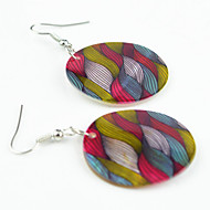 Vintage Look Natural Natural Sea Shell Round Wave Color Flower Printed Drop Dangle Earring(1Pair)