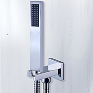 Square Solid Brass Chrome Hand Held Shower Heads With Wall Connector and Hose Set For Bathroom