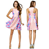 TS Couture Cocktail Party Dress - Print A-line Scoop Short/Mini Chiffon / Polyester