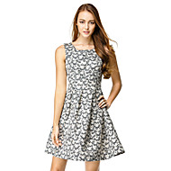 TS Couture Cocktail Party Dress - Print A-line Scoop Knee-length Polyester
