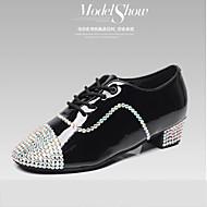 Na zakázku - Pánské / Dětské - Taneční boty - Latina / Jazz / Taneční tenisky / Moderní / Flamenco - Kůže - Nízky podpatek - Černá